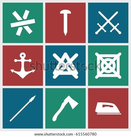 iron icons set set of 9 iron
