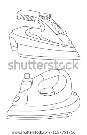 Iron  illustration and icon, Laundry machine, House cleaning