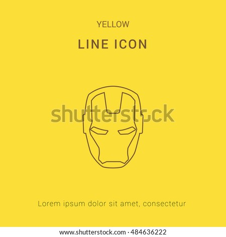 iron man cute yellow thin line