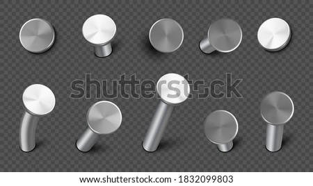 Iron nails hammered in wall, straight and bent steel spikes with circle head. Vector realistic set of metal pins, hardware hobnails, carpentry and construction tools isolated on transparent background Stockfoto ©