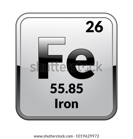 Iron Symbolemical Element Of The Periodic Table On A Glossy White