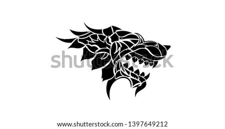Iron Throne black animal icon. Stark Wolf head icon. Winterfell stark house flag emblem Vector illustration. EPS 10. Isolated.  Stock photo ©