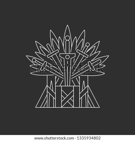 Iron throne. Ceremonial chair built of weapon. Vector illustration