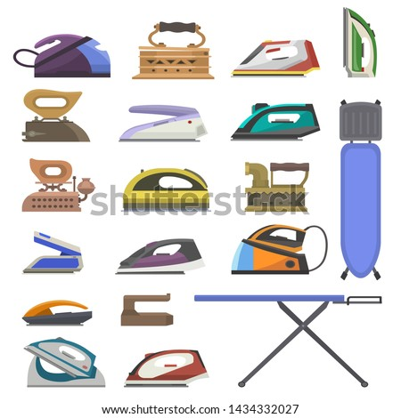 Iron vector ironing electric household appliance of laundry housework illustration irony housekeeping set of hot irony steam equipment ironing board isolated on white background