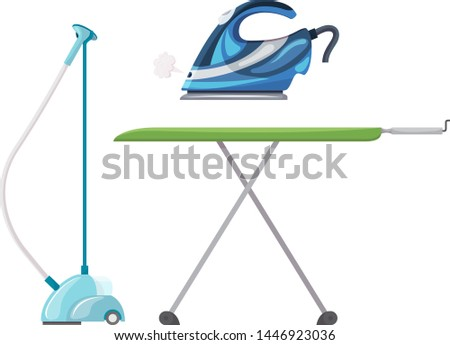 Iron vector ironing electric household appliance steamer of laundry housework illustration irony housekeeping set of hot irony steam equipment isolated on white background