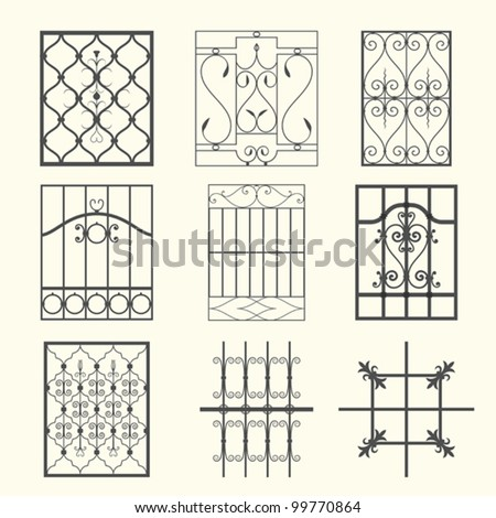 Iron Window Grills Stock Vector Illustration 99770864 : Shutterstock