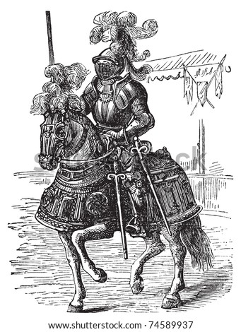 Medieval Knight On Horse Drawing Bodied armored horse and