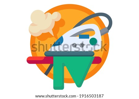 Ironing board and clothes with iron and steam concept vector illustration isolated on white background. Photo stock ©