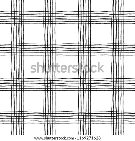 Irregular Checkered Plaid Pattern. Seamless hand drawn background. Trendy tartan print. Black and white grunge illustration