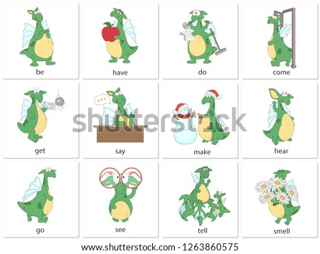 Irregular english verbs be, do, come, have, get, say, make, hear, go, see, tell and smell with funny dragon. Grammar cards for students