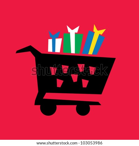 Irregular funny design of shopping cart with presents, artistic vector illustration