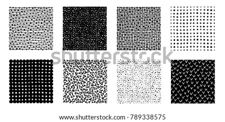 Irregular hand drawn patterns collection. Seamless doodle backgrounds. Striped, dotted graphic print. Chaotic vector illustration