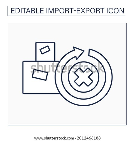 Irrevocable line icon. Not to be revoked or recalled. Cargo unable to be repealed or annulled.Import and export concept. Isolated vector illustration. Editable stroke Photo stock ©