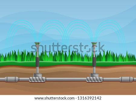 Irrigation watering system automatic farm concept banner. Cartoon illustration of irrigation watering system automatic farm vector concept banner for web design