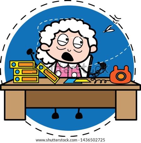 Irritated Businesswoman - Old Woman Cartoon Granny Vector Illustration