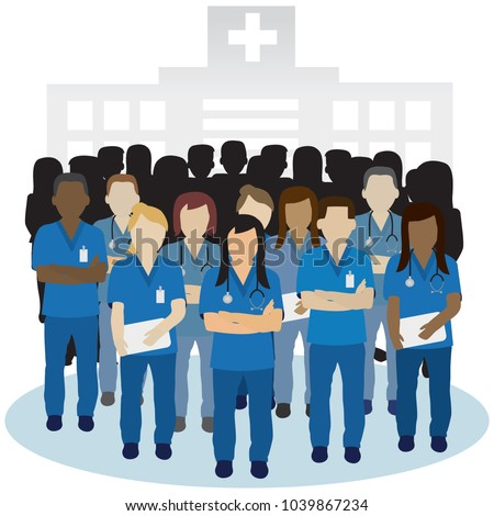 irritated or angry nurse group in front of a hospital building concept