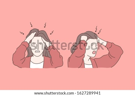 Irritation, headache, stress, tragedy set concept. Young irritated woman has tragedy and strong headache, holding her head. Headache causes raise of stress level and furious anger. Simple flat vector