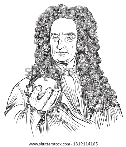 Isaac Newton (1643-1727) portrait in line art illustration. He was an astronomer, scientist, philosopher, mathematician and physicist who developed the principles of modern physics.