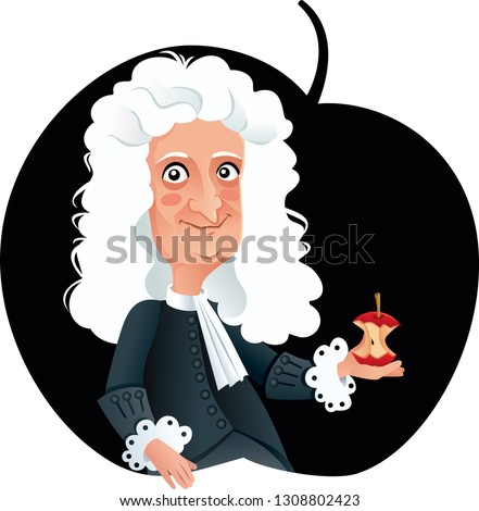 Isaac Newton Vector Caricature. Funny cartoon portrait of famous scientist