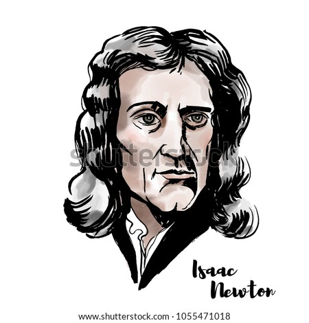 isaac newton watercolor vector