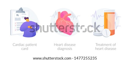 Ischemic heart disease. Heart care. Cardiovascular disease. Cardiac patient card, Heart disease diagnosis, Treatment of heart disease metaphors. Vector isolated concept metaphor illustrations
