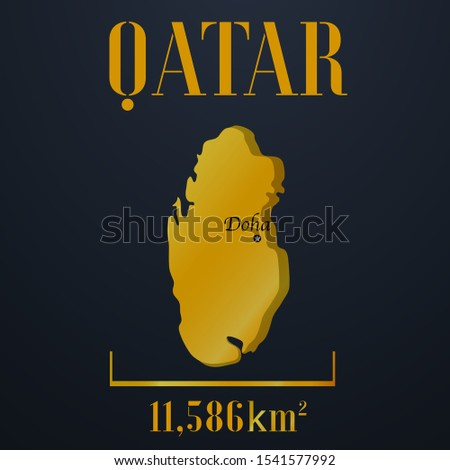 Islam and Arabic Qatar golden 3d solid country outline silhouette, realistic piece of world map template, for infographic, vector illustration, isolated object, background. From countries set