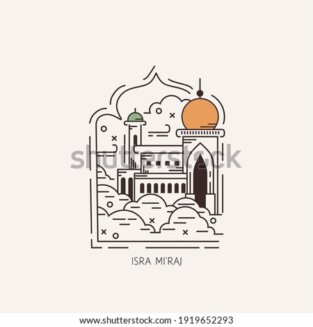 Islam day of Isra Mi'raj, Illustration graphics of mosque on the sky. Perfect for posters, background, greeting cards, etc. Zdjęcia stock ©