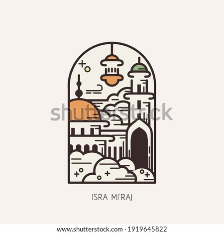 Islam day of Isra Mi'raj, Illustration vector graphics of Mosque on the sky. Perfect for posters, greeting cards, etc. Zdjęcia stock ©