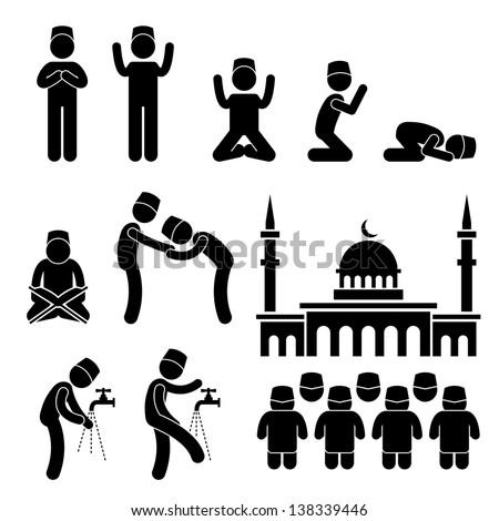 Islam Muslim Religion Culture Tradition Stick Figure Pictogram Icon