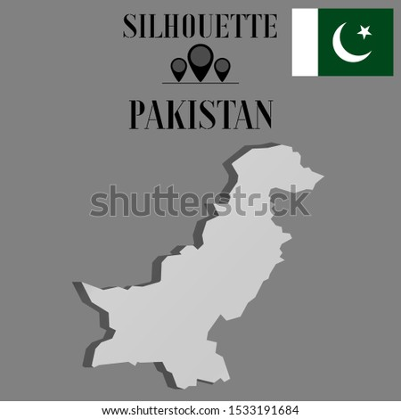 Islam Pakistan outline world map silhouette vector illustration, creative design background, national asian country flag, objects, element, symbols from countries all continents set.