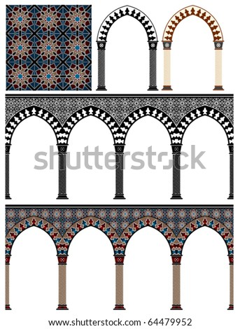 Islam, Pattern, Arabic Style, Geometric, Art, Seamless, Backgrounds, Brown, Red, Repetition, coptic, Star Shape - stock vector