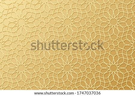 Islam pattern. Gold ottoman background. Golden Islamic design. Arabesque texture. Arabic geometric motif. Islam star. Traditional muslim style. East symbol. Moroccan ornate. Arabian. Morocco. Vector