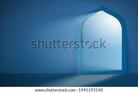 Islam theme background in 3d design. Silver moonlight shimmering through mosque portal. Concept of serene Ramadan evening.
