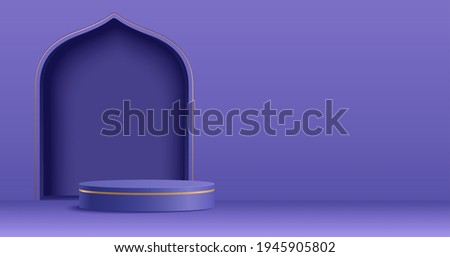 Islam theme product display background in 3d minimal purple design. Mosque portal frame with podium and blank space.