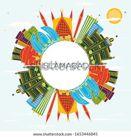 Islamabad Pakistan City Skyline with Color Buildings, Blue Sky and Copy Space. Vector Illustration. Business Travel and Tourism Concept with Historic Architecture. Islamabad Cityscape with Landmarks.