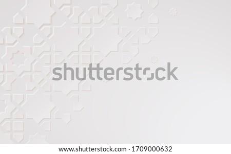 Islamic arabesque design greeting card for Ramadan Kareem,Arabic ornamental monochrome detail of mosaic,white abstract texture,3d vector background