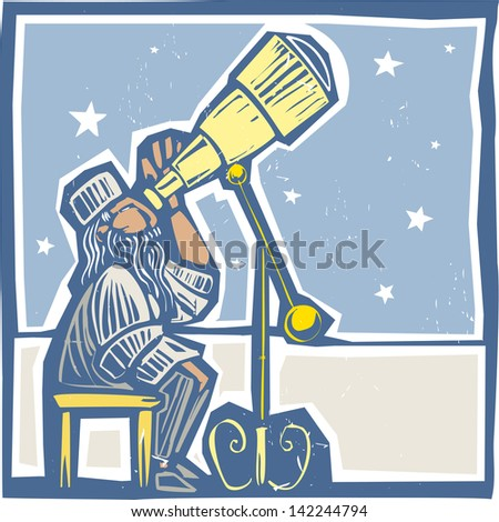 Islamic Astronomer from North Africa watches the night sky. - stock vector
