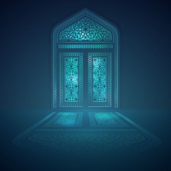 Islamic background design mosque window with light shadow