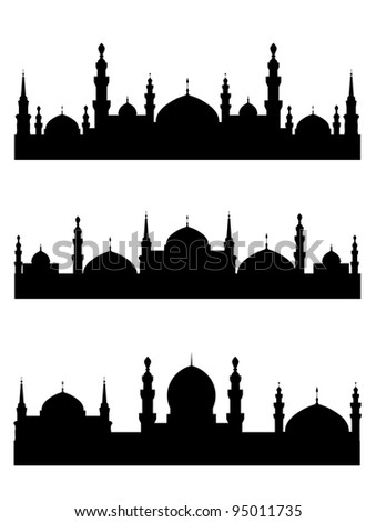 Islamic city silhouettes for design. Vector illustration - stock ...