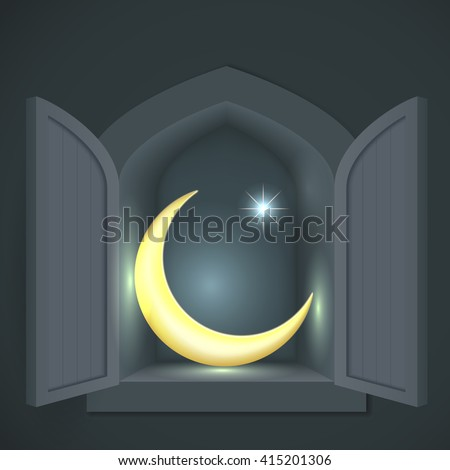islamic crescent and star in a