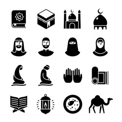 Islamic culture and traditions glyph icons set. Muslim symbols, moon and star, Quran book, Kaaba, namaz, mosque, Ramadan, arabic man and woman, prayer. Vector illustration