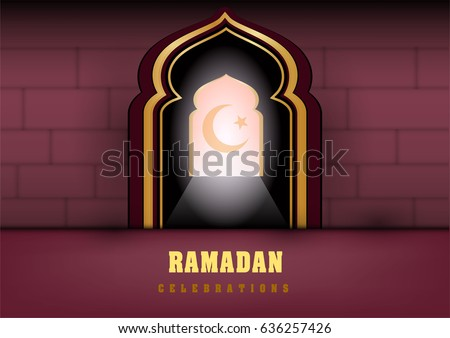 Islamic design mosque door for greeting background Ramadan Kareem ramadan pattern vector design : masjid door vector - pezcame.com