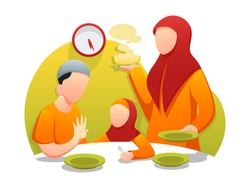 islamic Flat illustration mosque, Ramadhan, iftar, sahur, eid night, can be used for ui, web, banner and many more