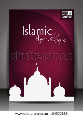 Islamic flyer, brochure or cover design with Mosque or Masjid on ...
