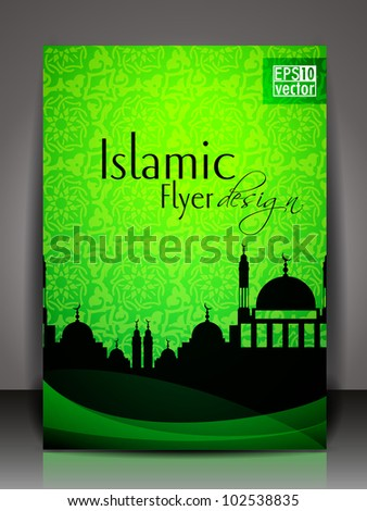 Islamic flyer or brochure and cover design with Mosque or Masjid silhouette with wave and floral effects in green color. EPS 10, vector illustration.