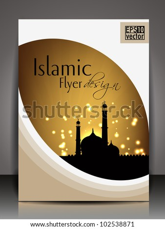 Islamic flyer or brochure and cover design with Mosque or Masjid ...