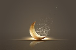 islamic greeting ramadan kareem card design background with crescent moon