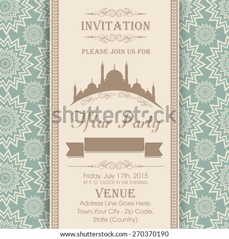 Islamic holy month of prayers Ramadan Kareem celebrations, Invitation card design for Iftar Party with mosque on seamless floral pattern background.  - stock vector
