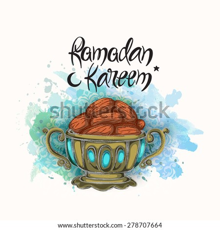 Islamic holy month of prayers, Ramadan Kareem, Iftar party concept with dates on blue color splash background.  - stock vector