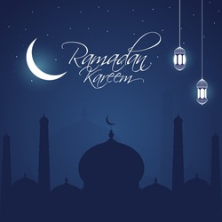 Islamic Holy Month of Ramadan Kareem night concept with hanging lanterns, mosque and cresent moon light on blue background.